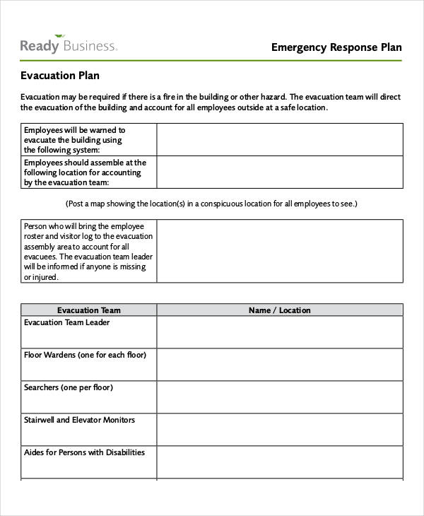 Emergency Plan Examples - Business emergency plan template
