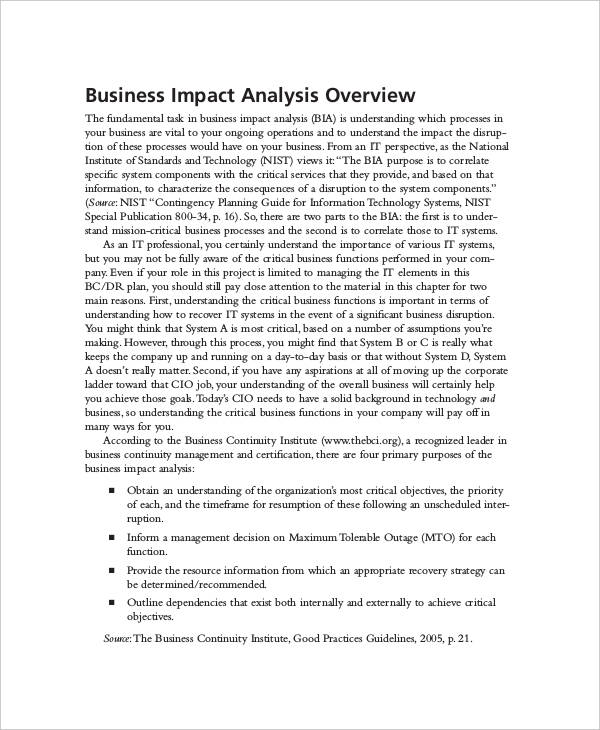 Impact Analysis Examples Samples