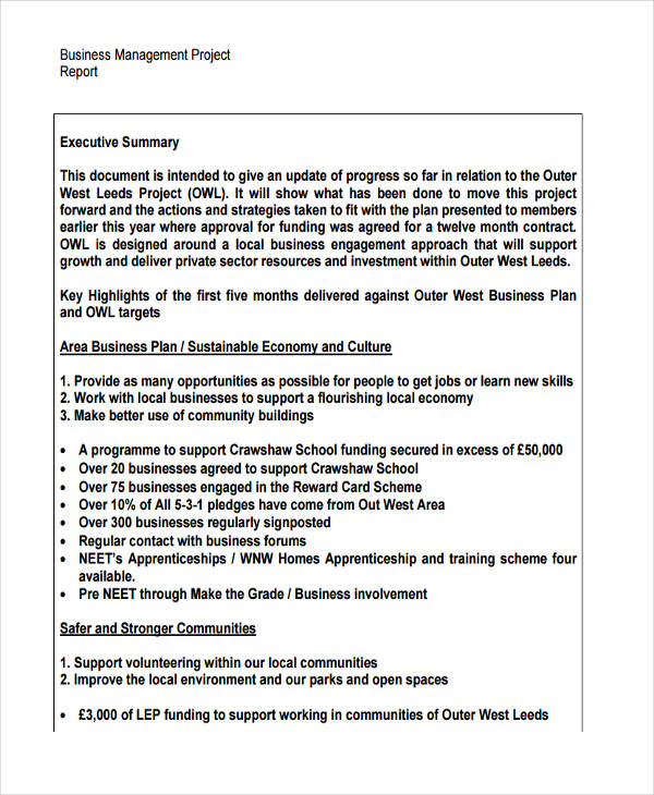 Business Management Project Report  Executive Summary Of A Report Example