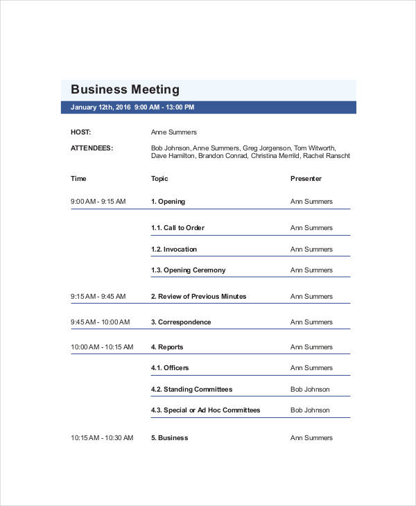 Agenda Layout Examples Sales Training Meeting Agenda Sample