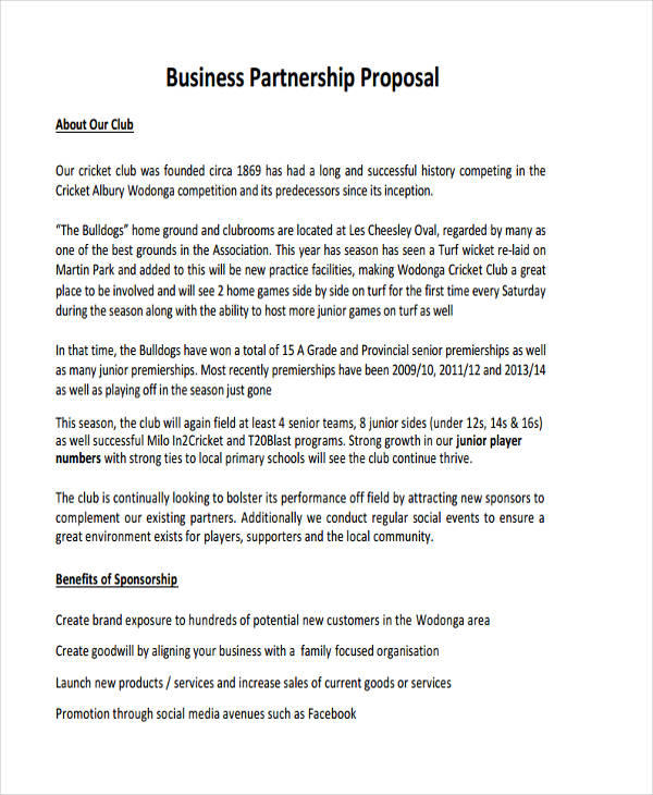 Free 6 Partnership Proposal Examples Samples In Pdf