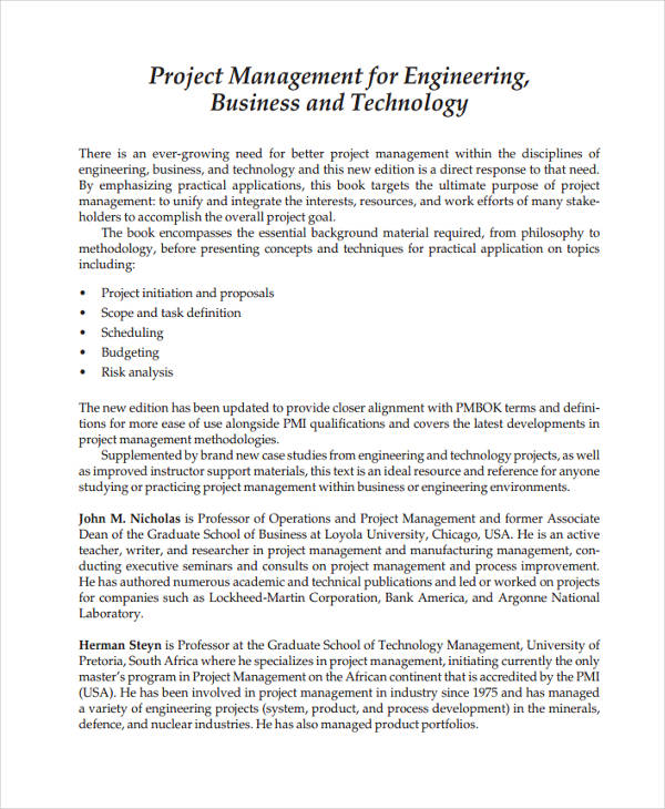 business project management sample