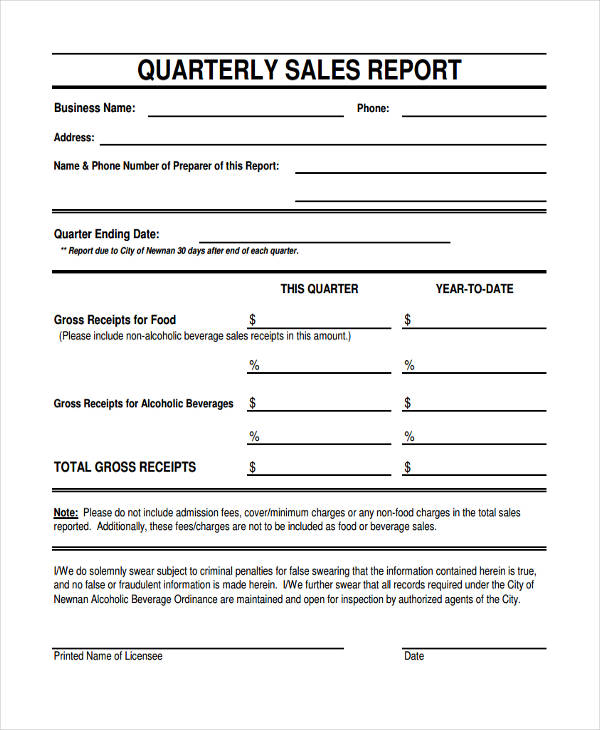 business quarterly sales report