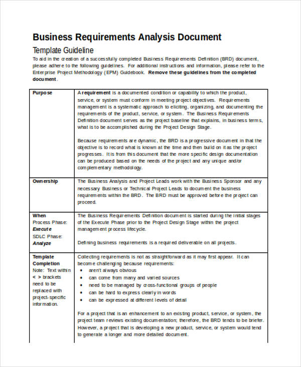49 analysis examples samples in word business requirement flashek Gallery