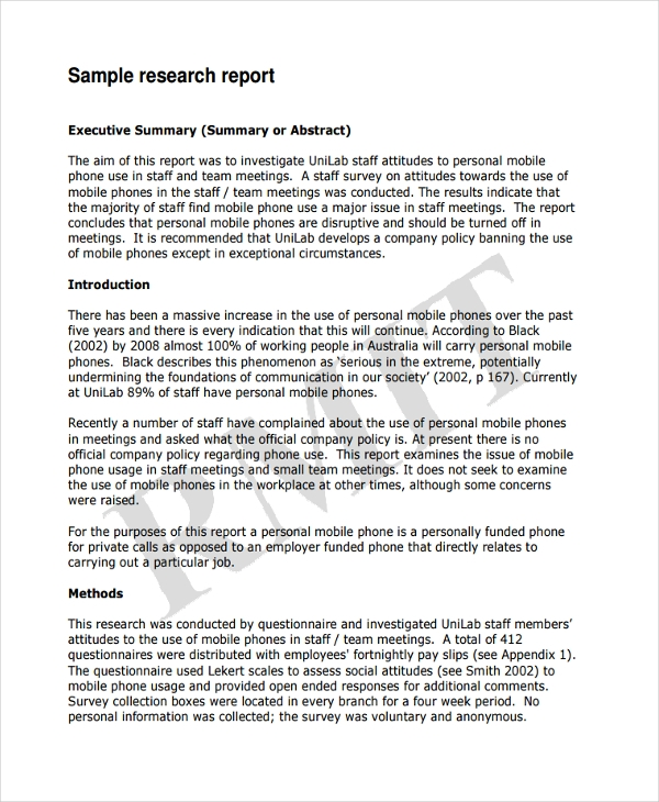 sample business research report Sample proposals for the writing guidelines for engineering and science students: this research culminates in a formal report.