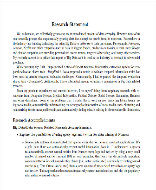 17 Research Statement Examples Pdf Doc