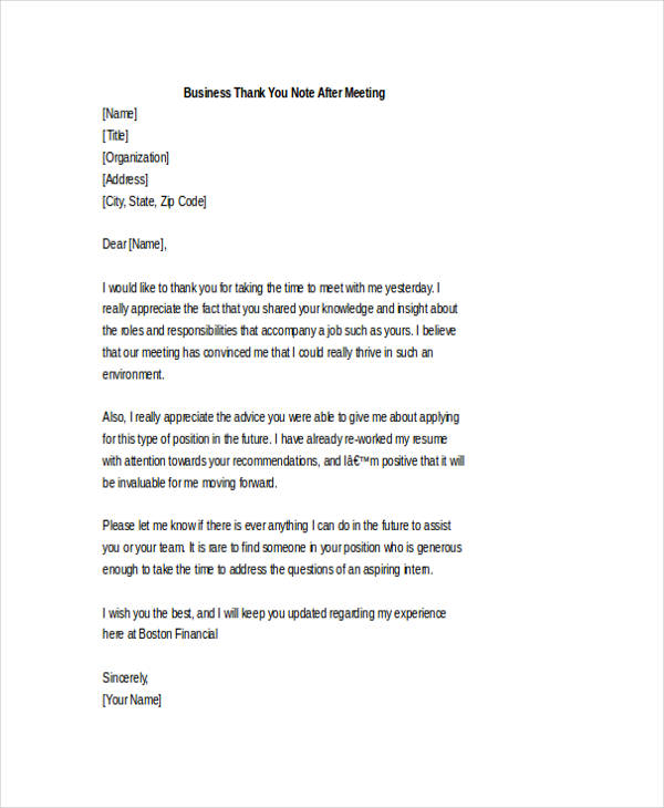 Thank You Letter To Boss - 6+ Free Word, Pdf Documents Download