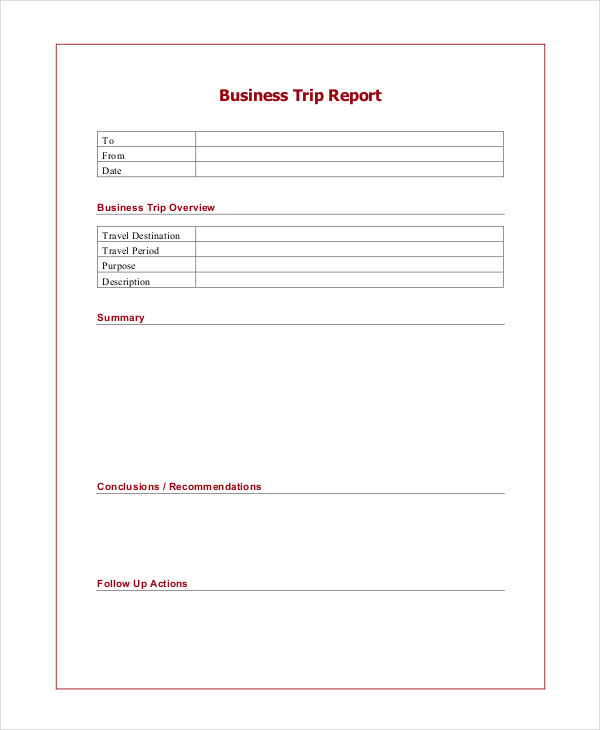 6 trip report examples samples business trip report1 friedricerecipe Gallery