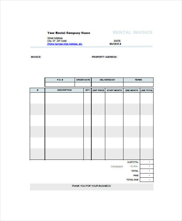 car rental invoice example