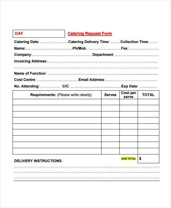 Catering Invoice Example  Samples