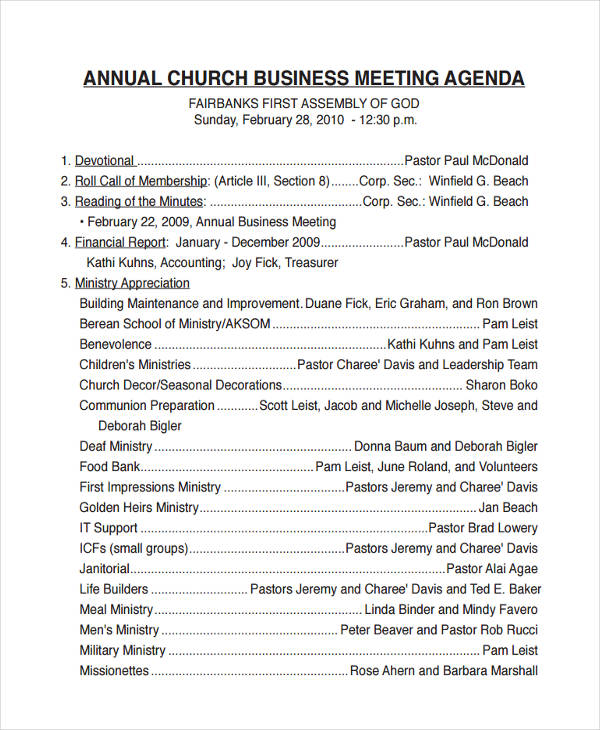 10+ Business Meeting Agenda Examples, Samples