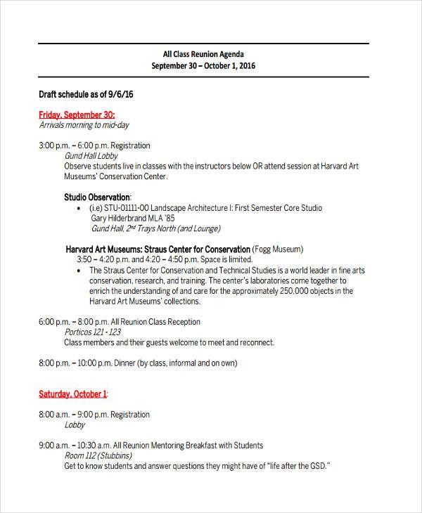 class reunion agenda1