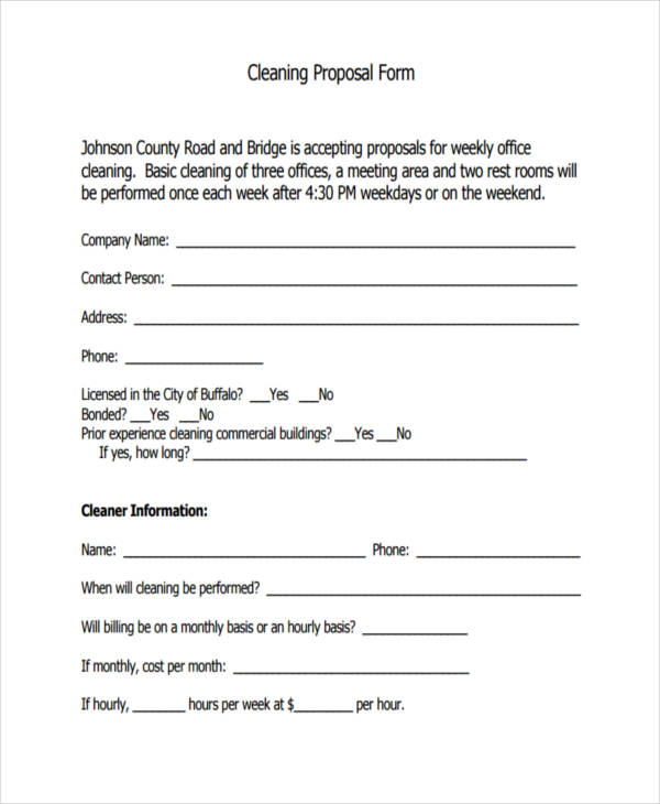 cleaning proposal form