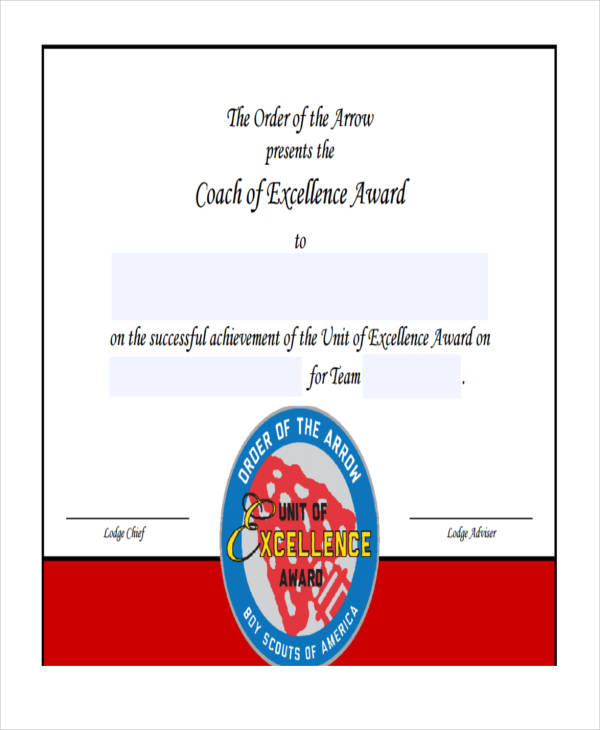 Coach Excellence Award  Excellence Award Wording