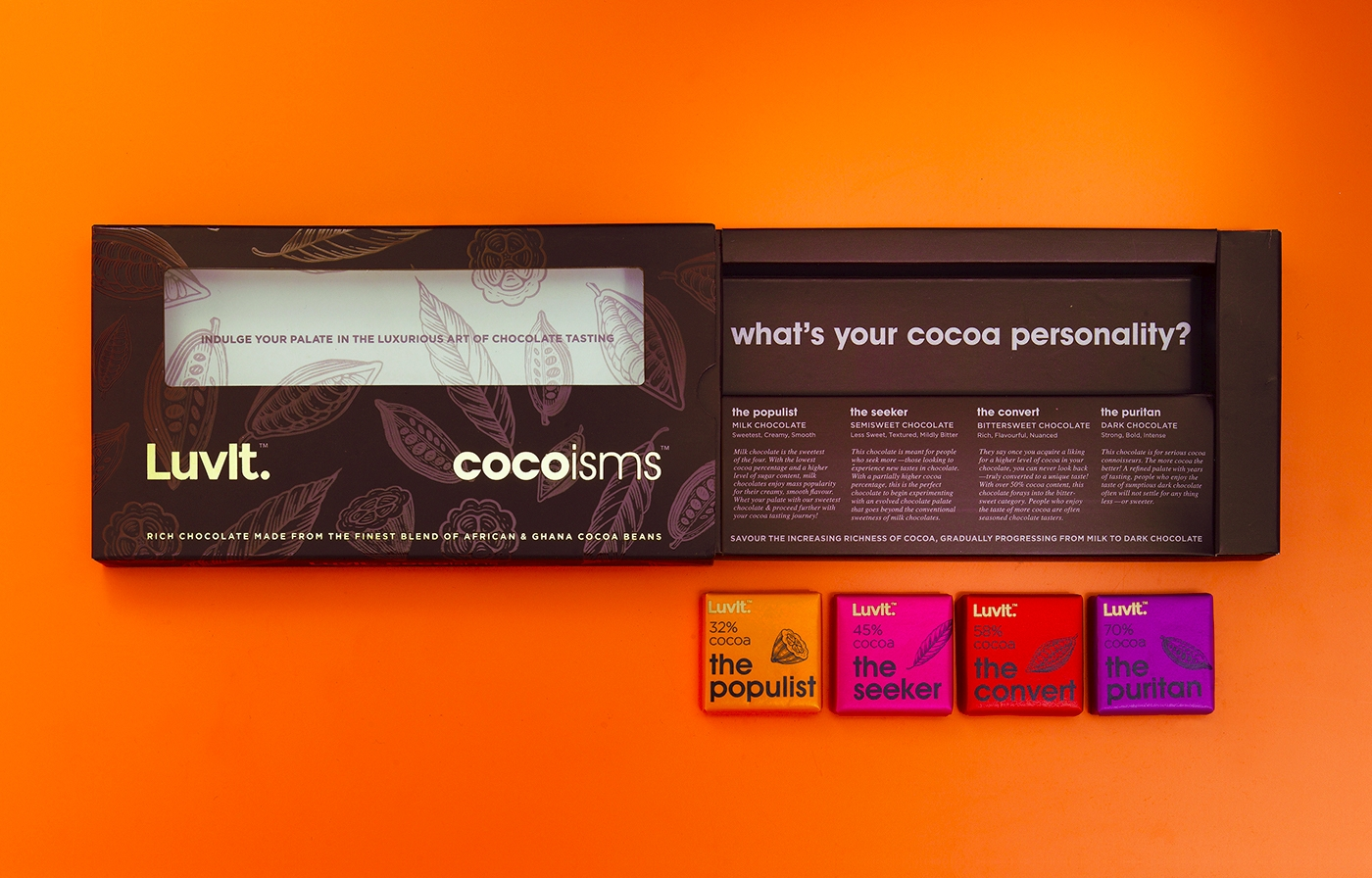 colorful chocolate branding design