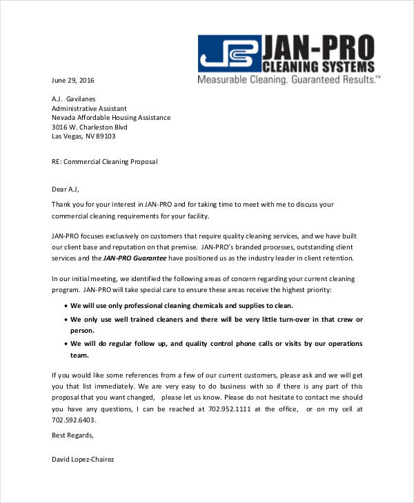 5 cleaning proposal examples samples for Cleaning services proposal letter
