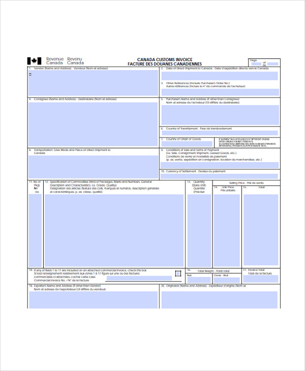 commercial customs form
