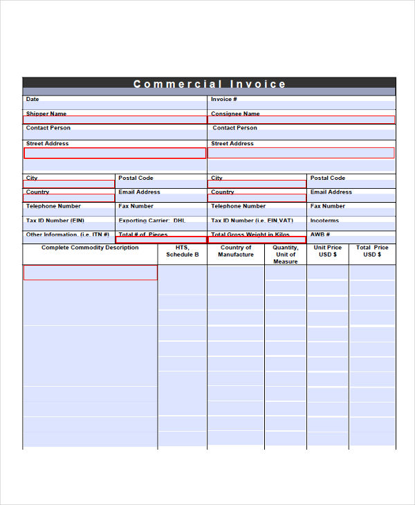 commercial shipping form