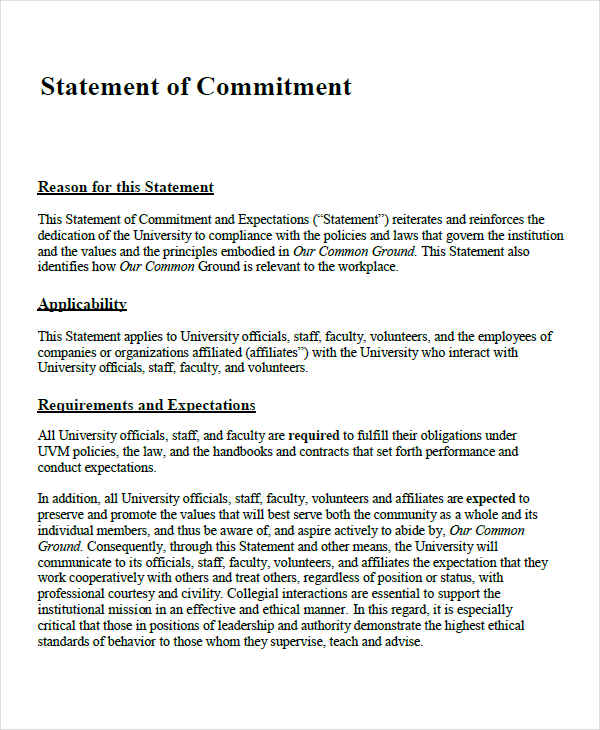commitment statement