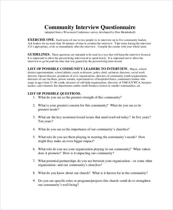 community interview questionnaire