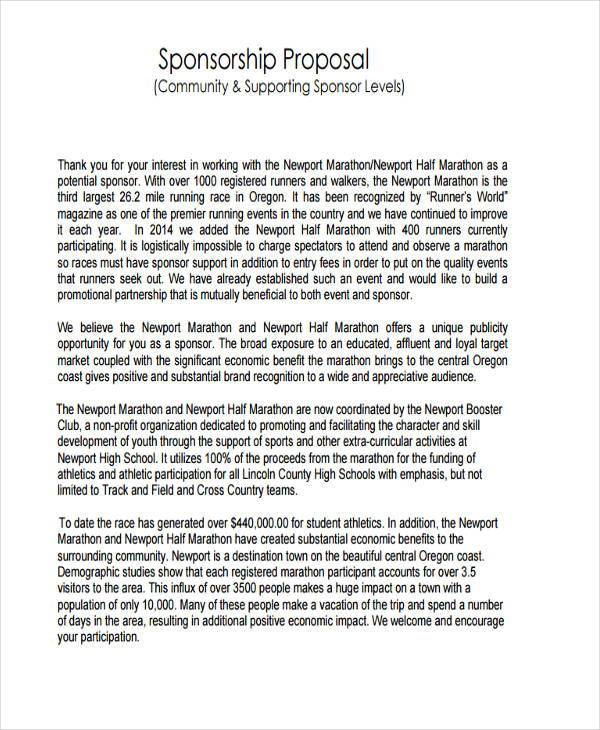 community sponsorship proposal