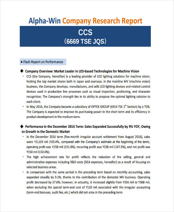company research report example
