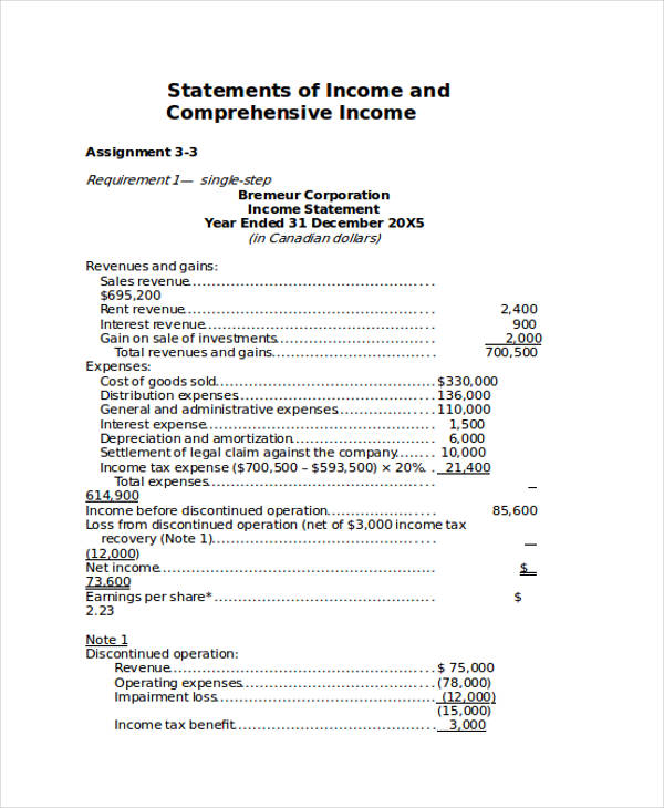 comprehensive income statement