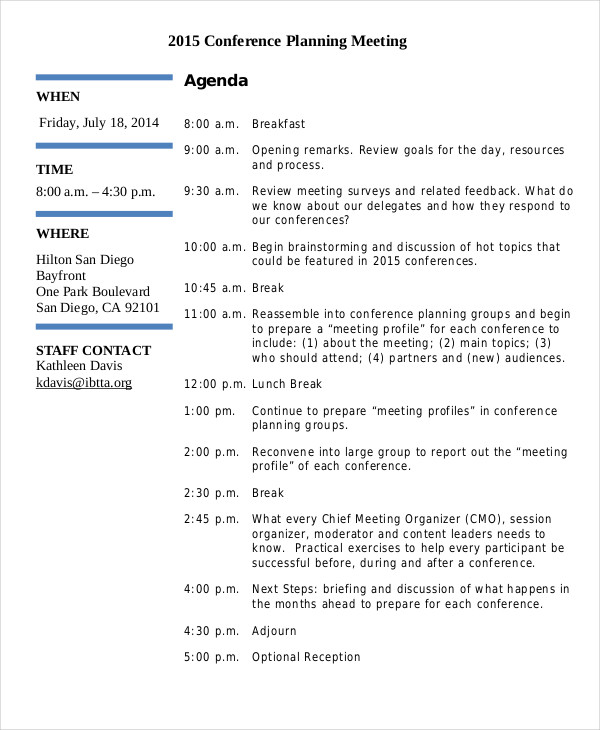 Conference Meeting Agenda  Preparing Meeting Agenda