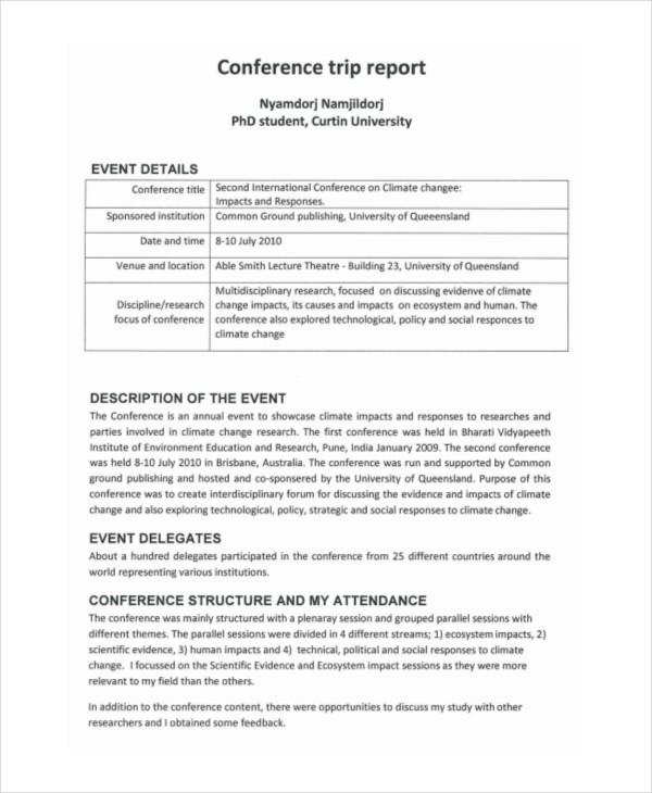 8 trip report examples doc pdf