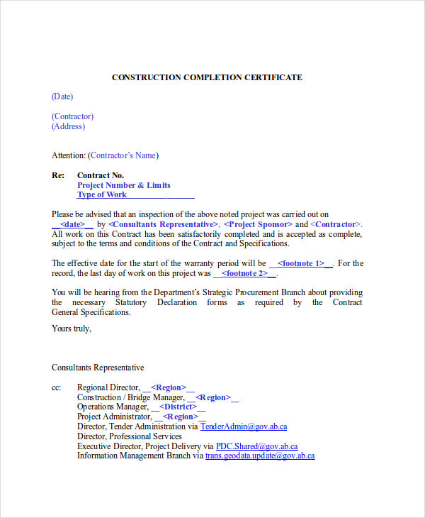 26 completion certificate examples samples construction completion certificate yadclub Images