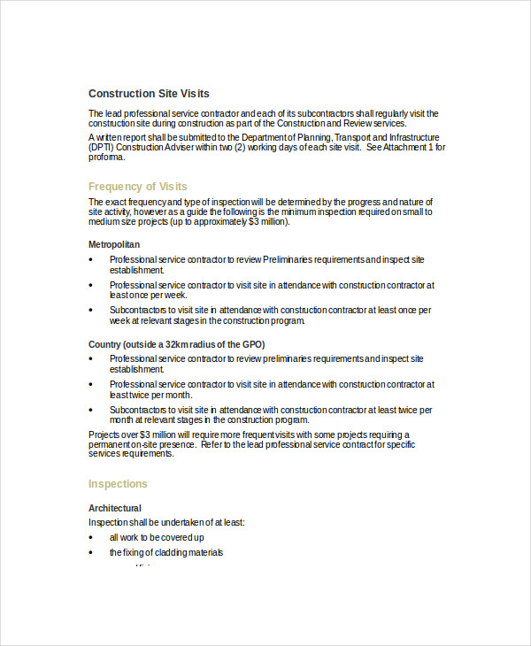 construction site visit report template 11 visit report examples samples pdf doc