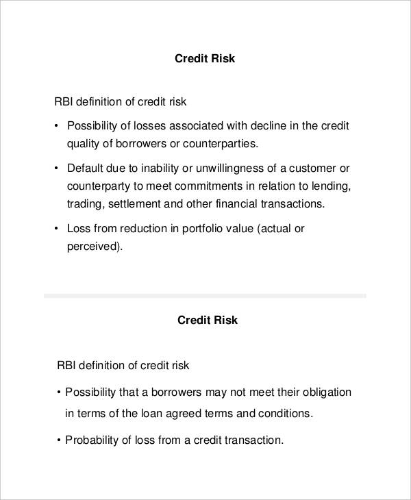 credit risk management example