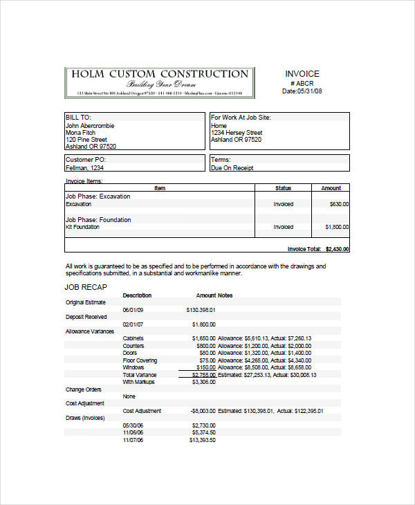 10 construction invoice examples samples custom construction altavistaventures Gallery