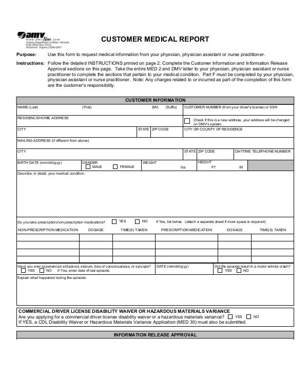 Medical Report Examples Samples