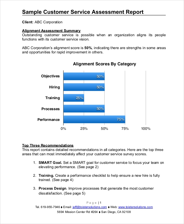 customer service assessment report1