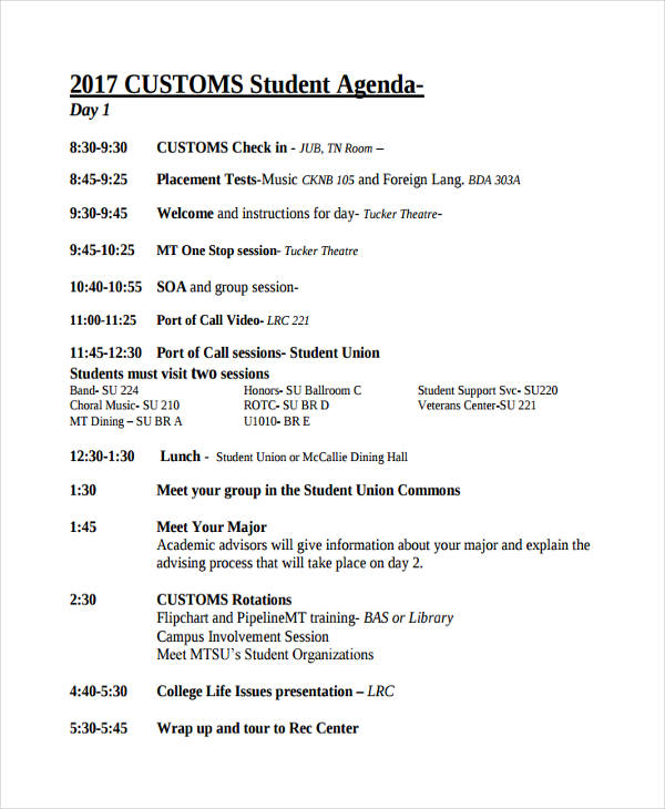 customs student agenda
