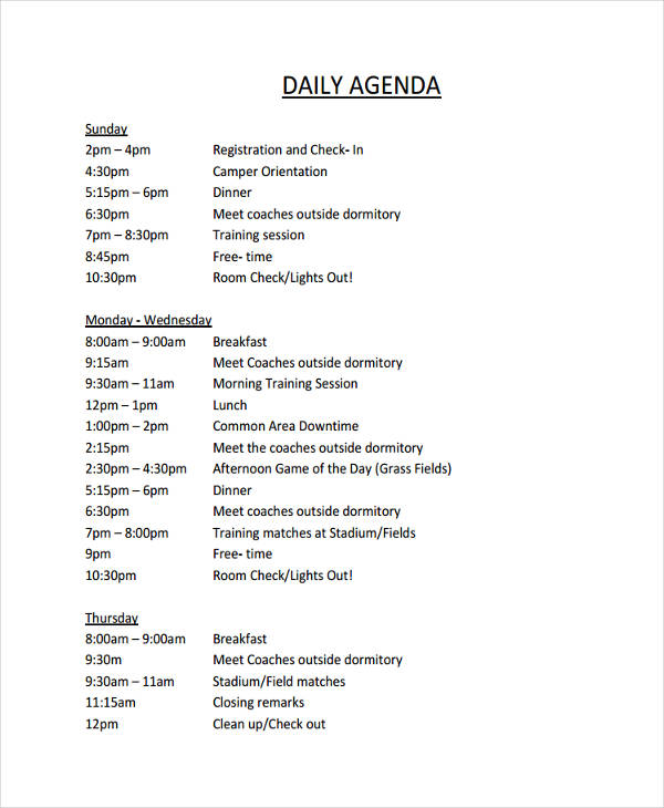 Daily Agenda Format  Format For An Agenda