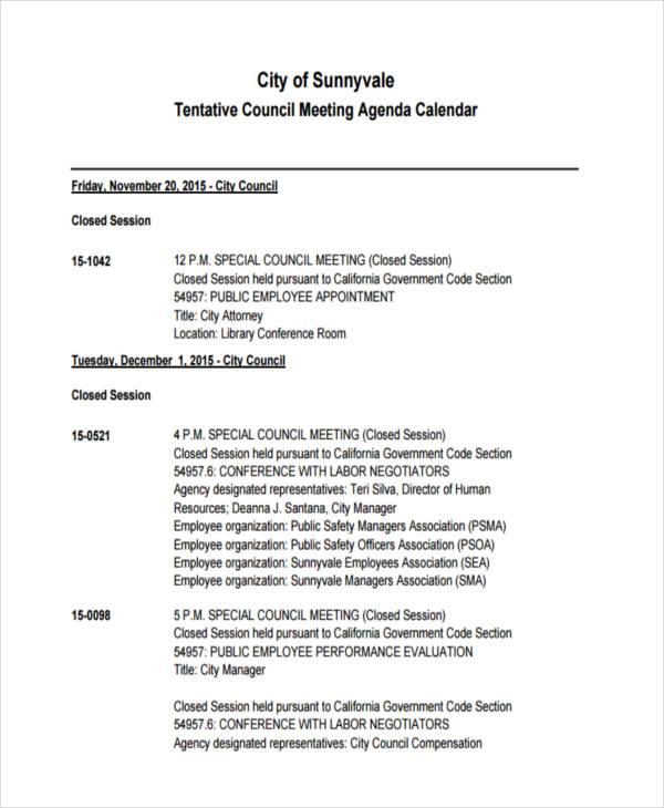 Agenda Calendar Examples Samples