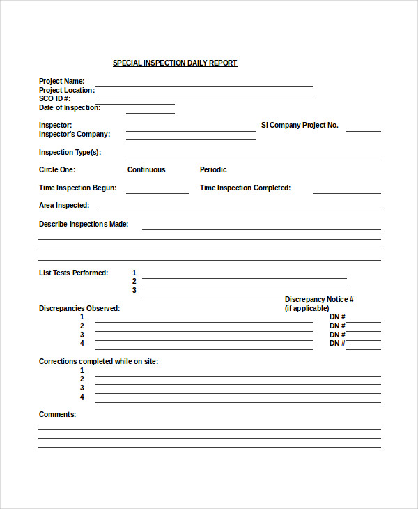 daily report form
