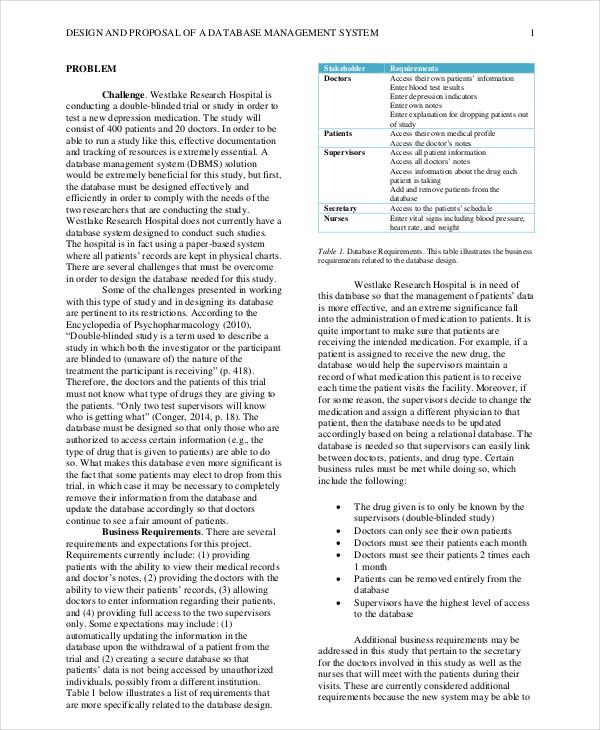 database system proposal