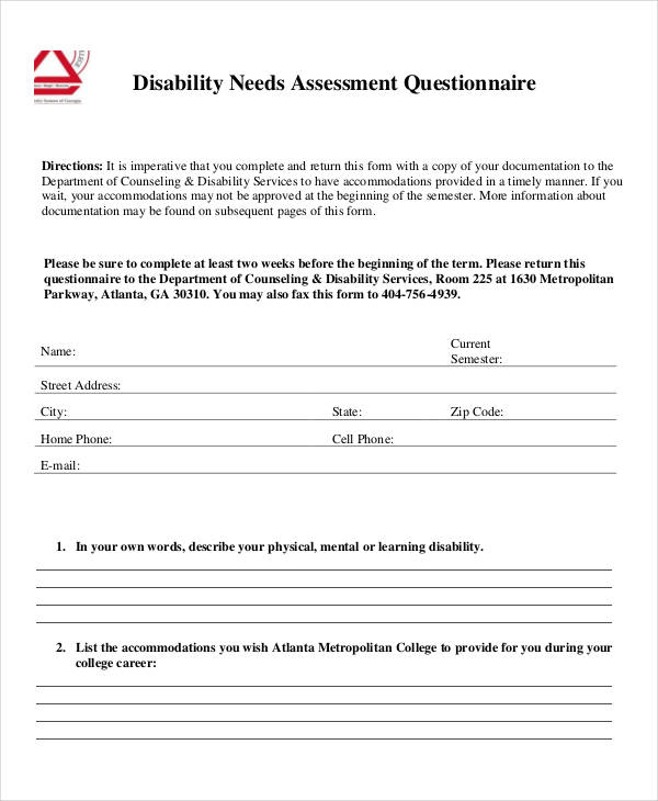 disability needs assessment questionnaire