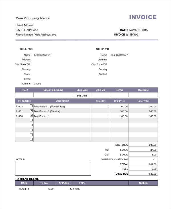 free 7  payment invoice examples  u0026 samples in google docs