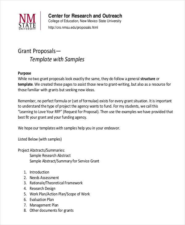 8 grant proposal examples samples pdf word pages