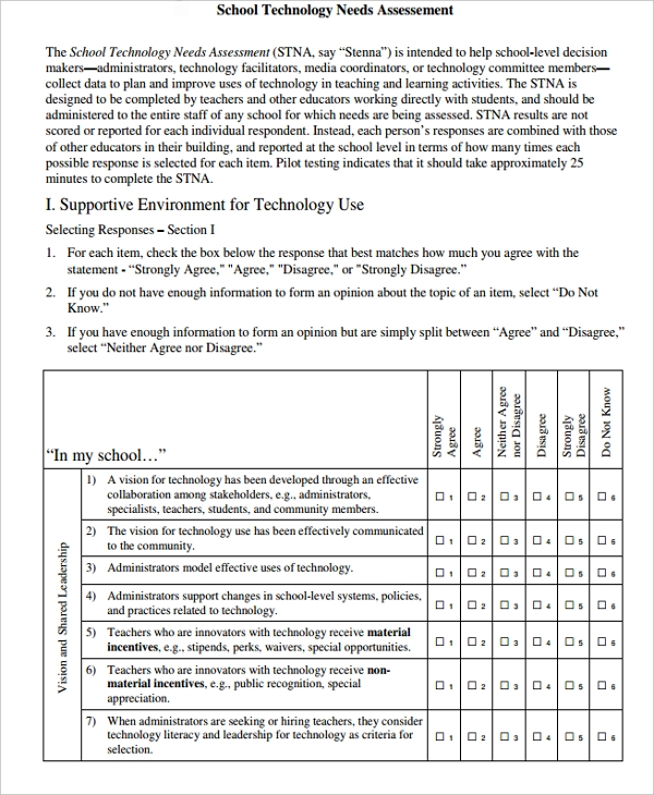 Needs Assessments Examples  Samples