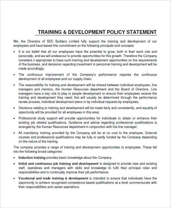 employee development policy
