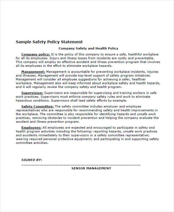 Examples Of Employee Statements