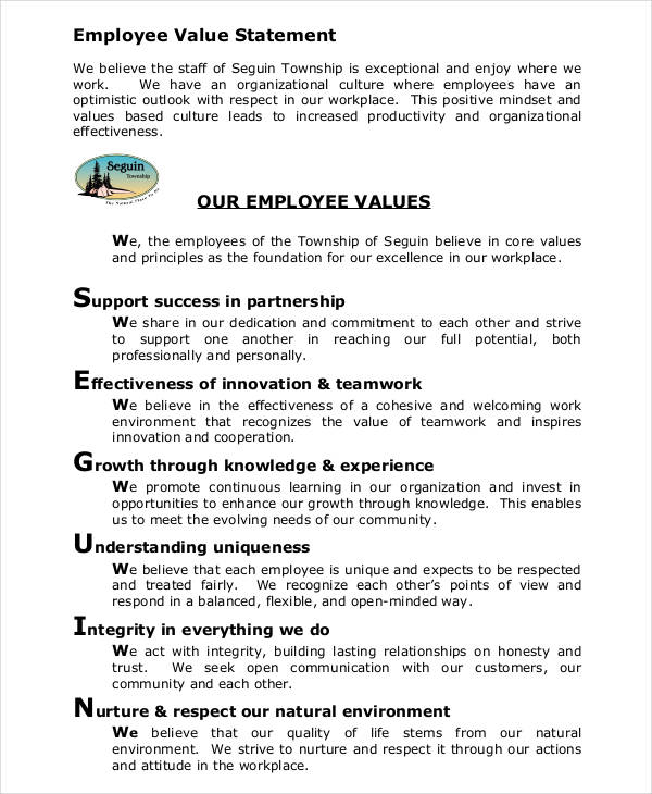 values statement template 6 value statement examples samples