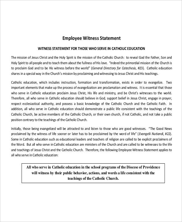 7 witness statement examples samples employee witness altavistaventures Choice Image