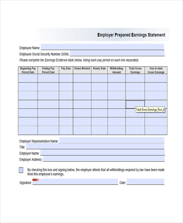 employer prepared earnings