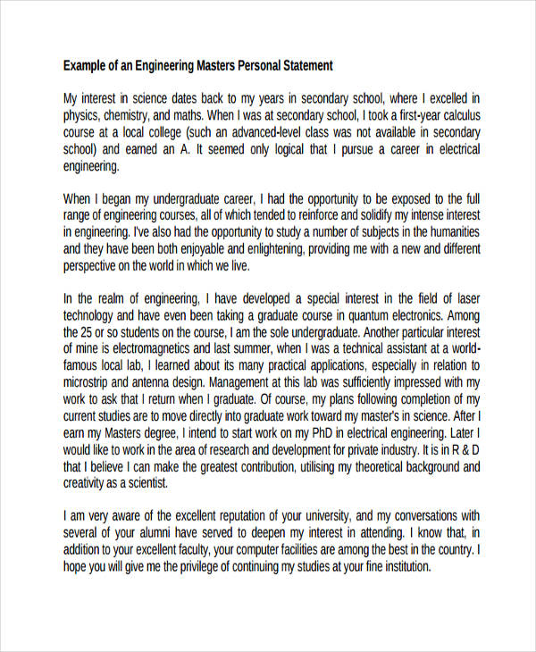 personal statement for masters in mechanical engineering The institute of mechanical, process and energy engineering (impee) is a dynamic, multidisciplinary research institute focused on promoting excellence across our main research themes: biomedical engineering, computational & digital engineering, energy harvesting and conversion, and multiphase flow.